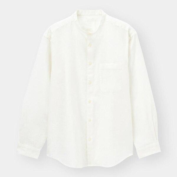 リネンブレンドバンドカラーシャツ(長袖)+X-WHITE
