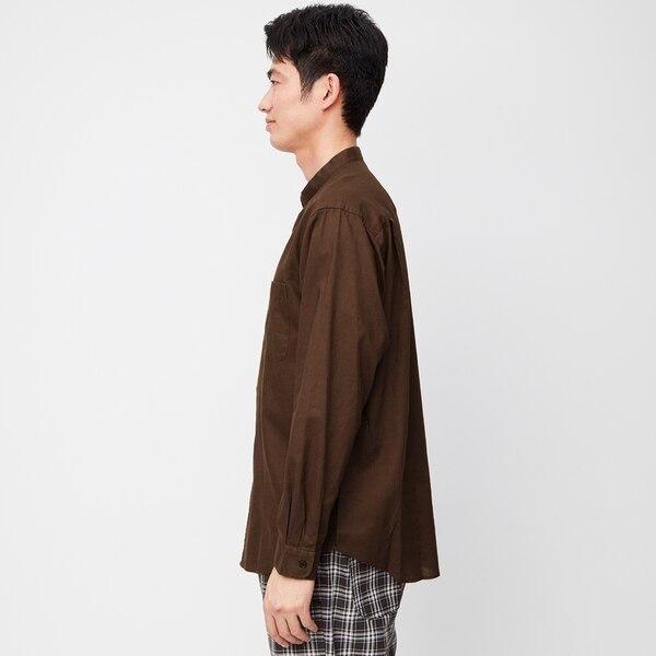 リネンブレンドバンドカラーシャツ(長袖)+X