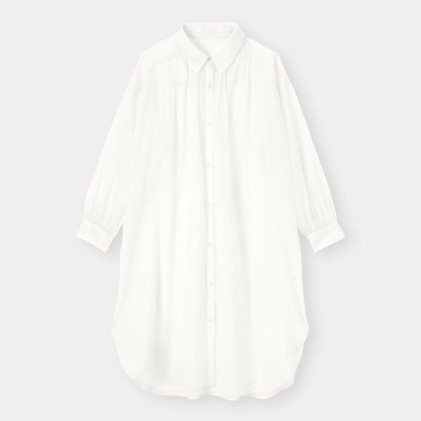 シアーシャツワンピース(長袖)-OFF WHITE