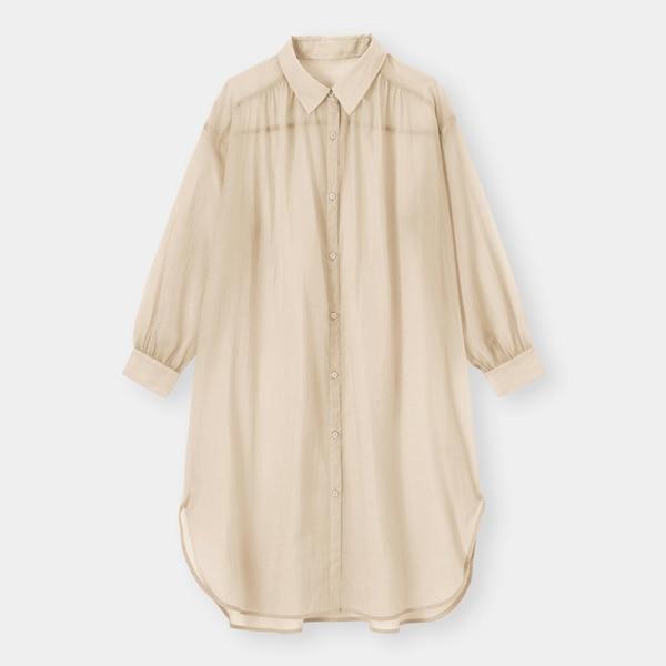シアーシャツワンピース(長袖)-BEIGE
