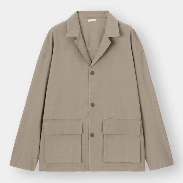リネンブレンドシャツジャケット(長袖)+E-KHAKI
