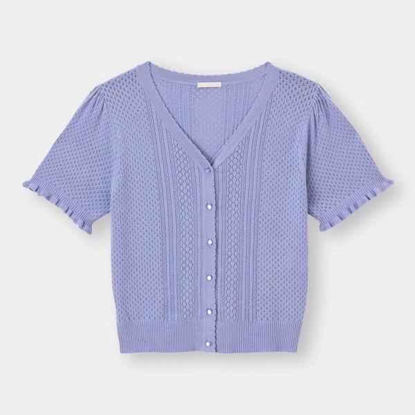 レーシーコンパクトカーディガン(半袖)-BLUE