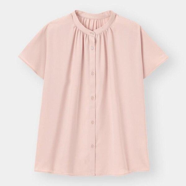 エアリーバンドカラーシャツ(半袖)-PINK