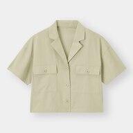 クロップドオープンカラーシャツ(5分袖)YG+E(セットアップ可能)