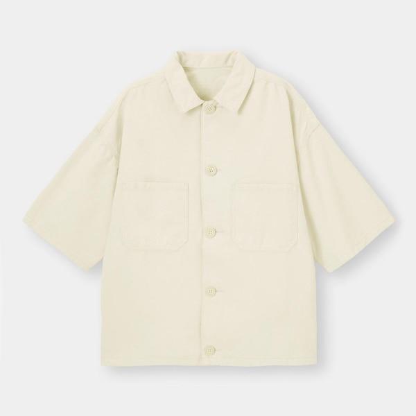 デニムシェフシャツ(5分袖)(セットアップ可能)-NATURAL