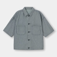 シェフシャツ(5分袖)(ヒッコリー)(セットアップ可能)