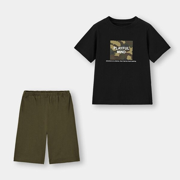 BOYSラウンジセット(半袖)(ボックスロゴ)-BLACK