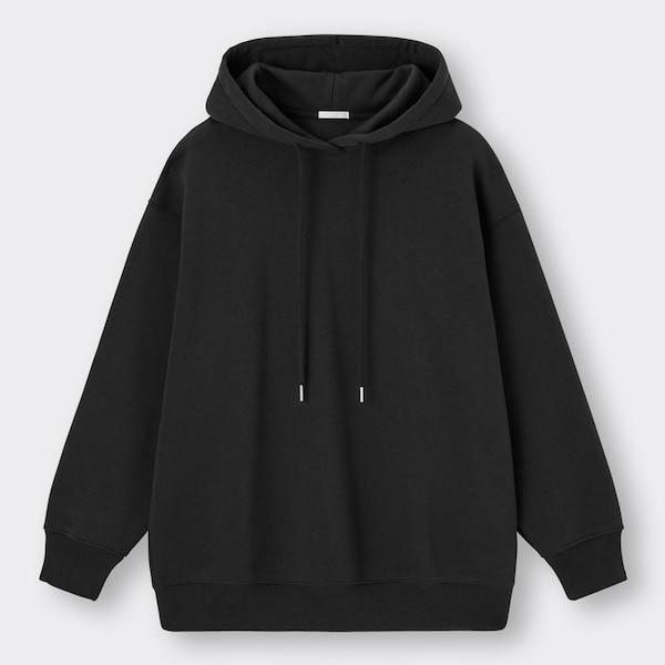 オーバーサイズスウェットプルパーカ(長袖)-BLACK