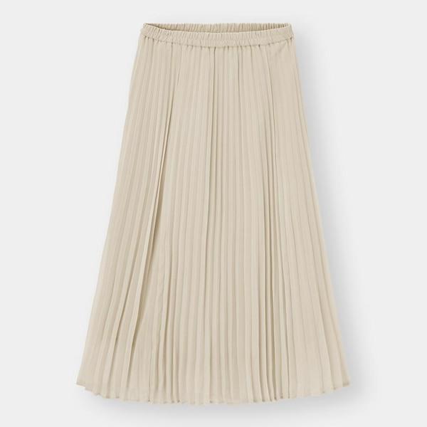 プリーツロングスカート-NATURAL