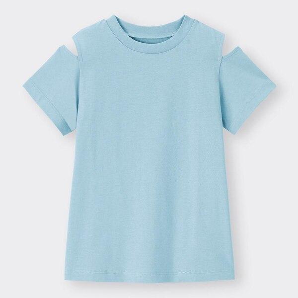 GIRLSオープンショルダーT(半袖)-BLUE