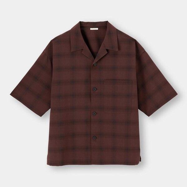 ドライワイドフィットオープンカラーシャツ(5分袖)(チェック)(セットアップ可能)-DARK BROWN