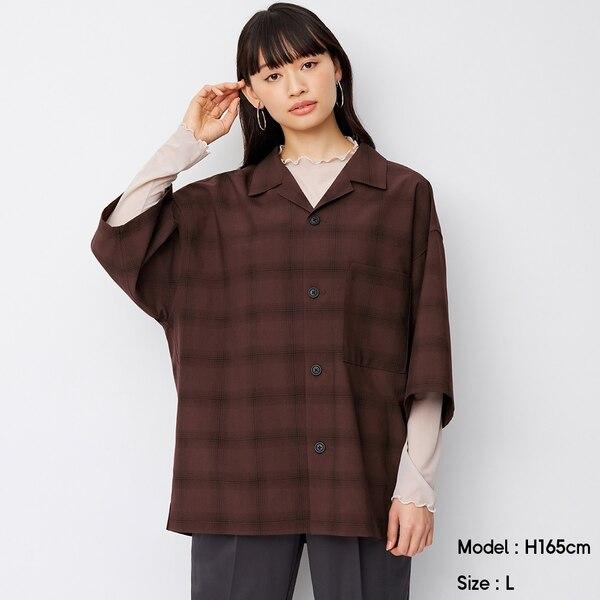 ドライワイドフィットオープンカラーシャツ(5分袖)(チェック)(セットアップ可能)