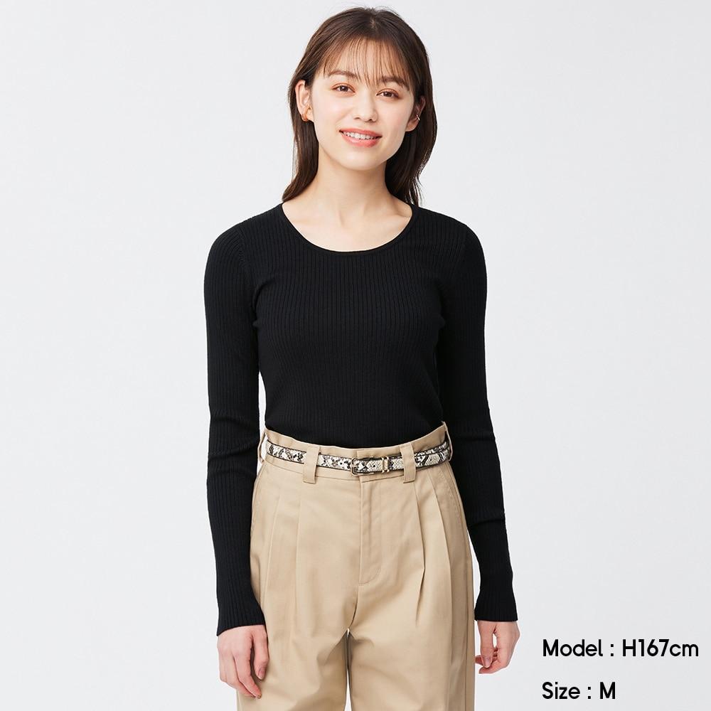 (GU)ワイドリブUネックセーター(長袖)