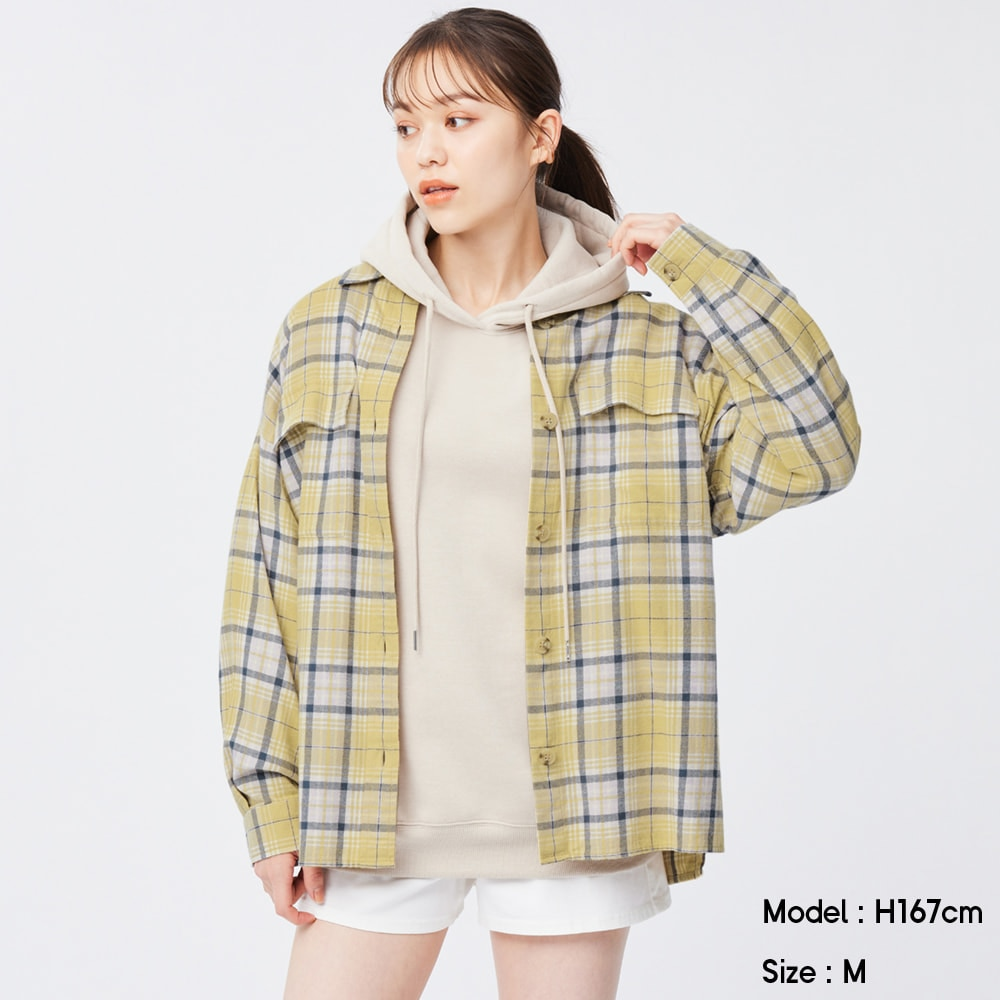 (GU)フランネルオーバーサイズシャツ(長袖)(チェックA)+X