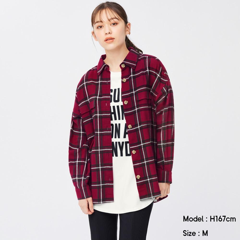 (GU)フランネルオーバーサイズシャツ(長袖)(チェックB)+X