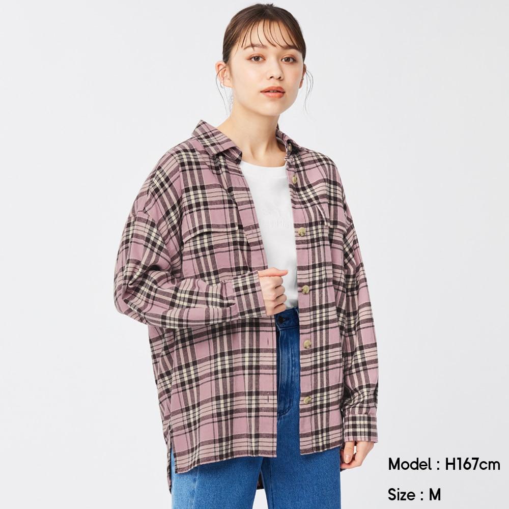 (GU)フランネルオーバーサイズシャツ(長袖)(チェックD)+X