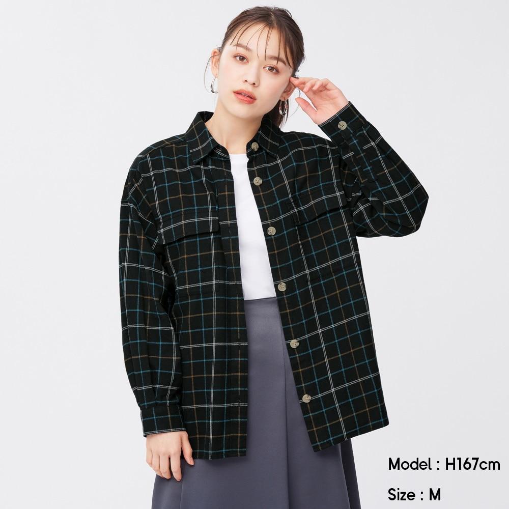 (GU)フランネルオーバーサイズシャツ(長袖)(チェックE)+EC