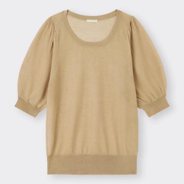 シアーパフスリーブセーター(5分袖)-BEIGE
