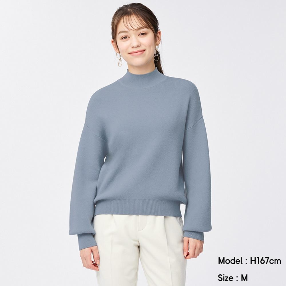 (GU)スウェットライクハイネックセーター(長袖)