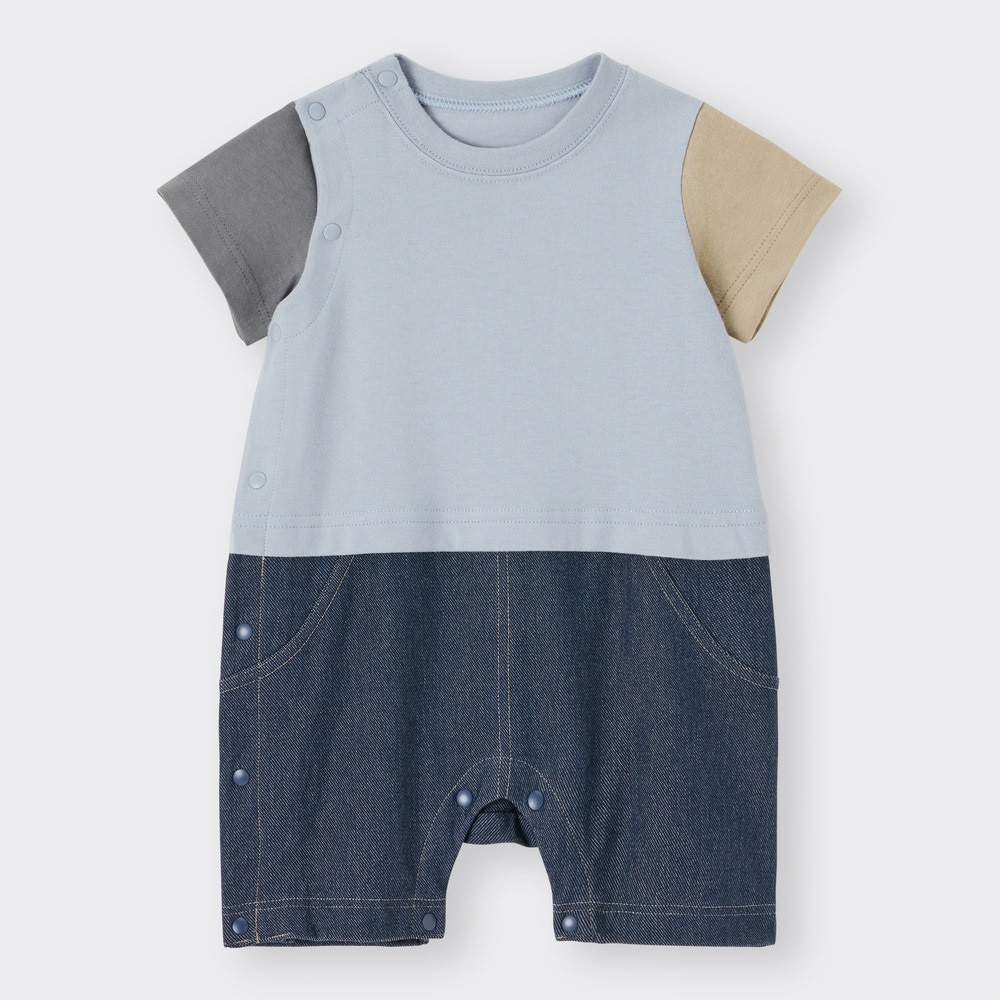 (GU)BABY(NEWBORN)セパオール(半袖)(カラーブロック)+E