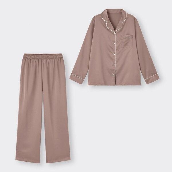 サテンパジャマ(長袖&ロングパンツ)-BROWN