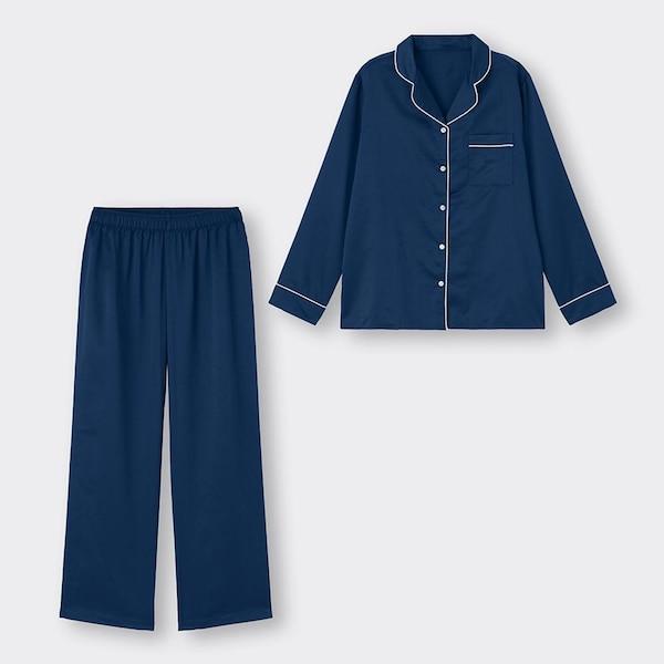 サテンパジャマ(長袖&ロングパンツ)-NAVY