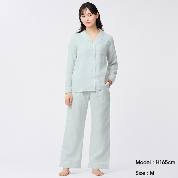 オーガニックコットンパジャマ(長袖&ロングパンツ)-LIGHT GREEN