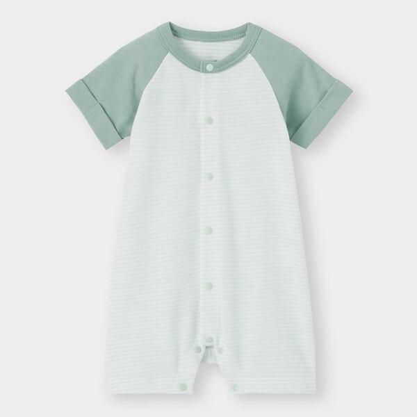 BABY(NEWBORN)カバーオール(半袖)(カラーブロック)+E-GREEN