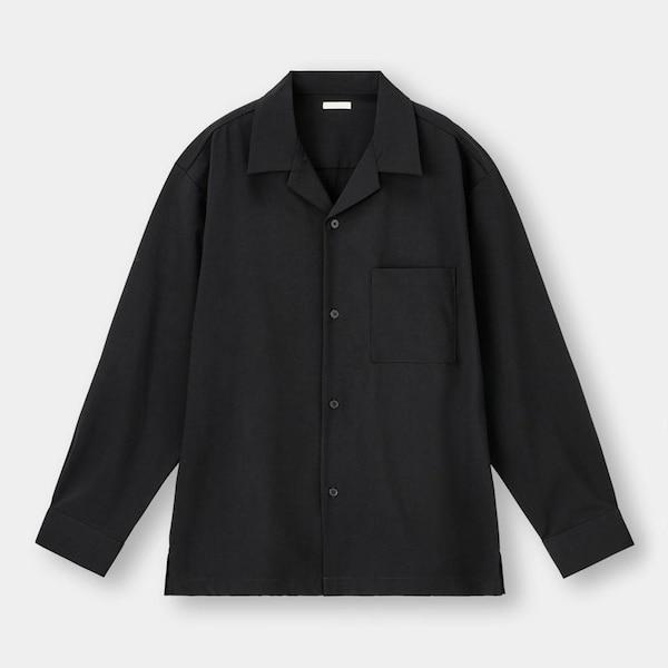 オープンカラーシャツ(長袖)(セットアップ可能)-BLACK
