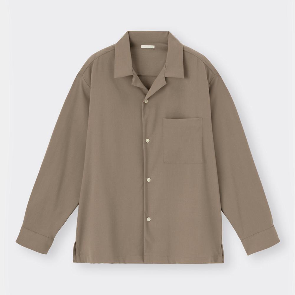 (GU)オープンカラーシャツ(長袖)(セットアップ可能)