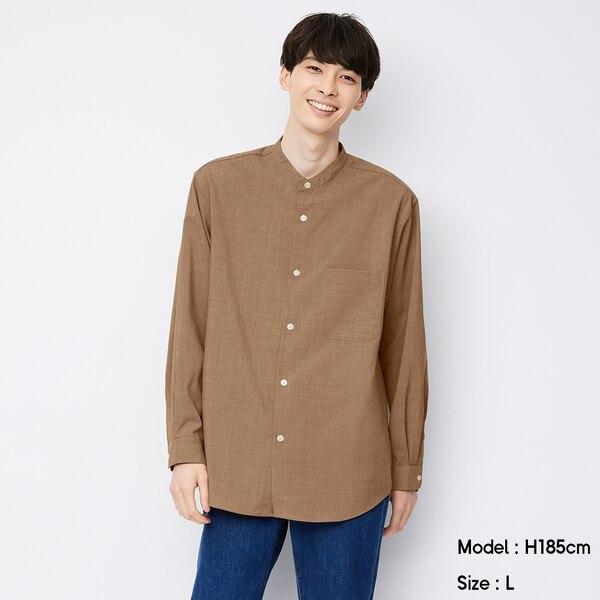 リラックスフィットバンドカラーシャツ(長袖)(セットアップ可能)-BROWN