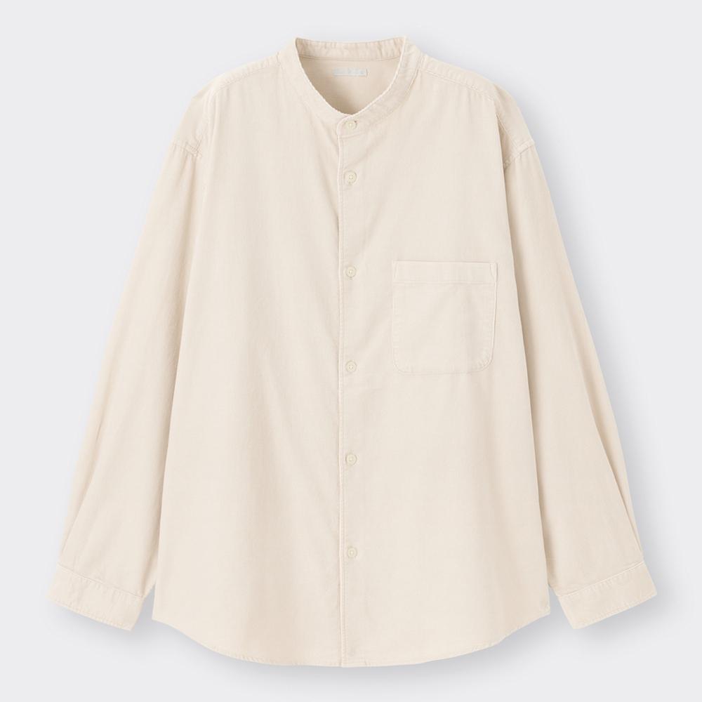 (GU)コーデュロイリラックスフィットバンドカラーシャツ(長袖)(セットアップ可能)