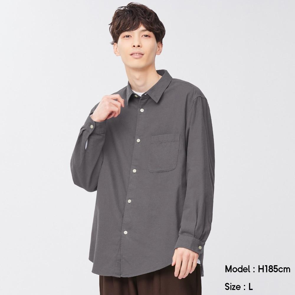 (GU)フランネルリラックスフィットシャツ(長袖)