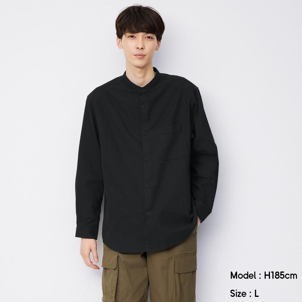 (GU)フランネルリラックスフィットバンドカラーシャツ(長袖)