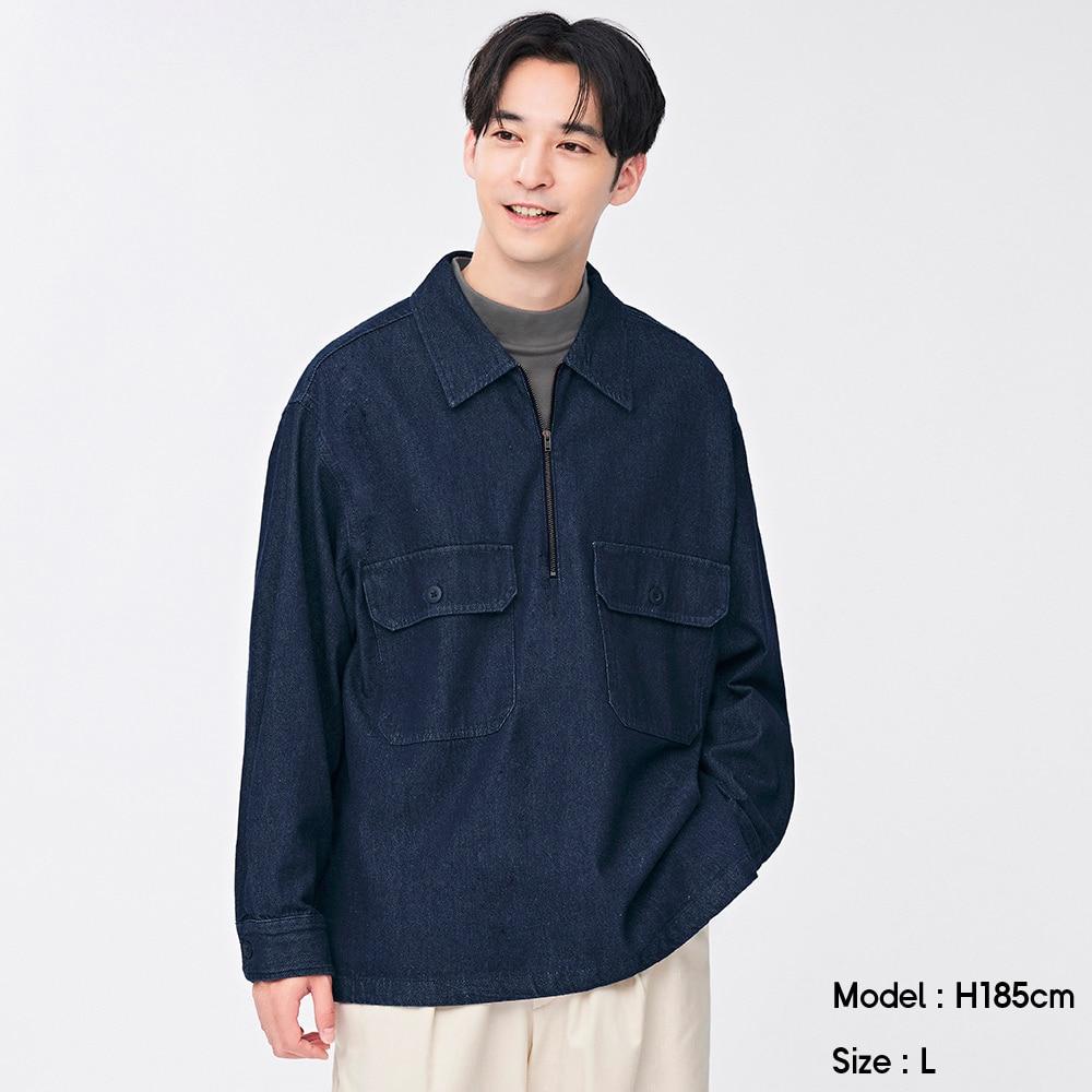 (GU)デニムハーフジッププルオーバーシャツ(長袖)Q