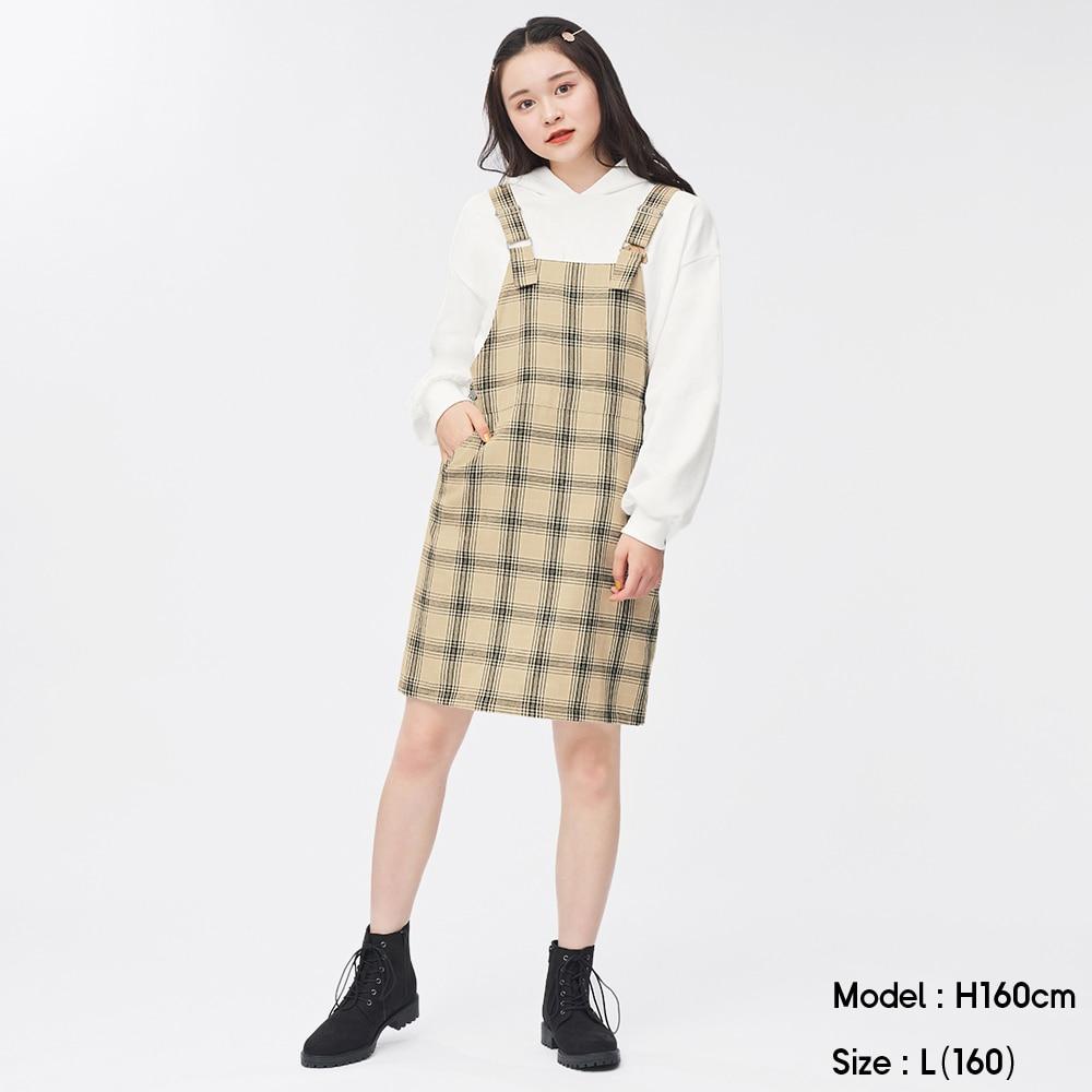 (GU)GIRLSチェックジャンパースカートJR+E