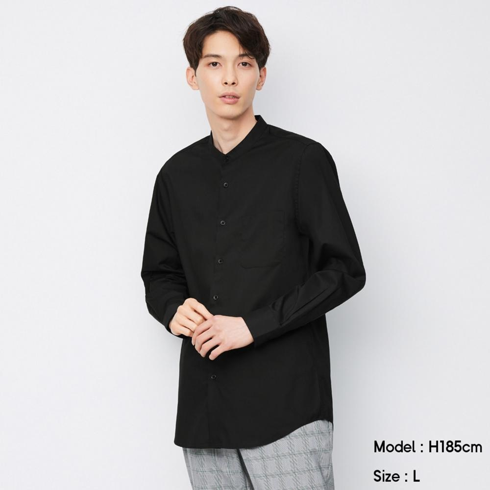 (GU)イージーケアバンドカラーシャツ(長袖)SW+X