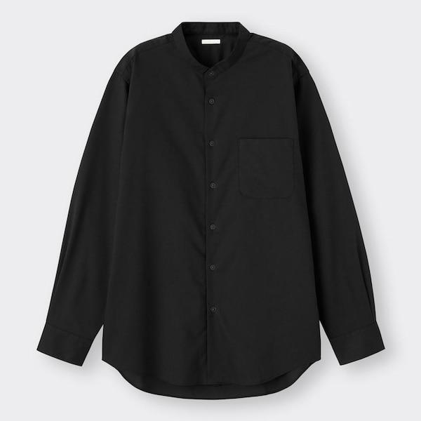 イージーケアバンドカラーシャツ(長袖)SW+X-BLACK