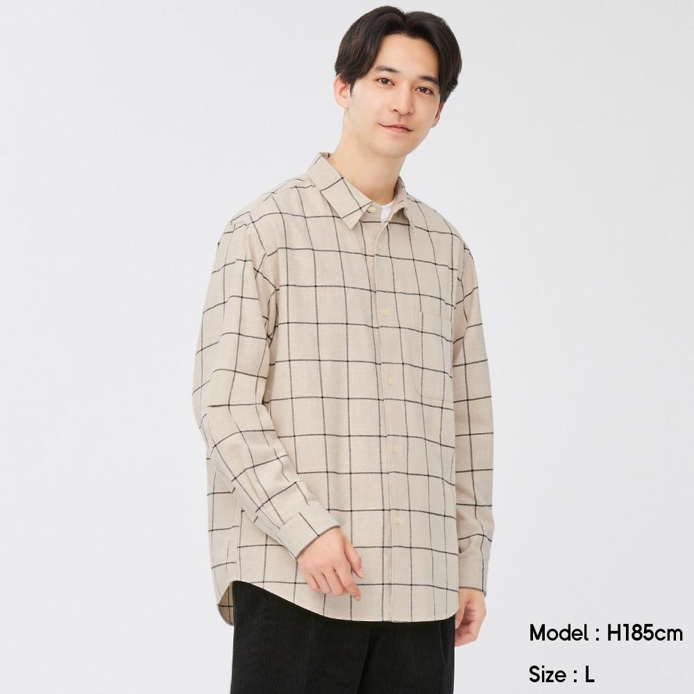 (GU)フランネルリラックスフィットシャツ(長袖)(ウィンドウペーン)