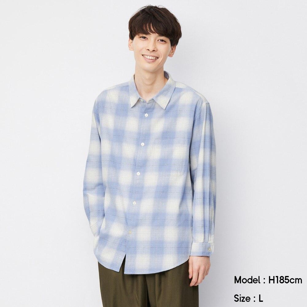 (GU)フランネルリラックスフィットシャツ(長袖)(オンブレチェック)