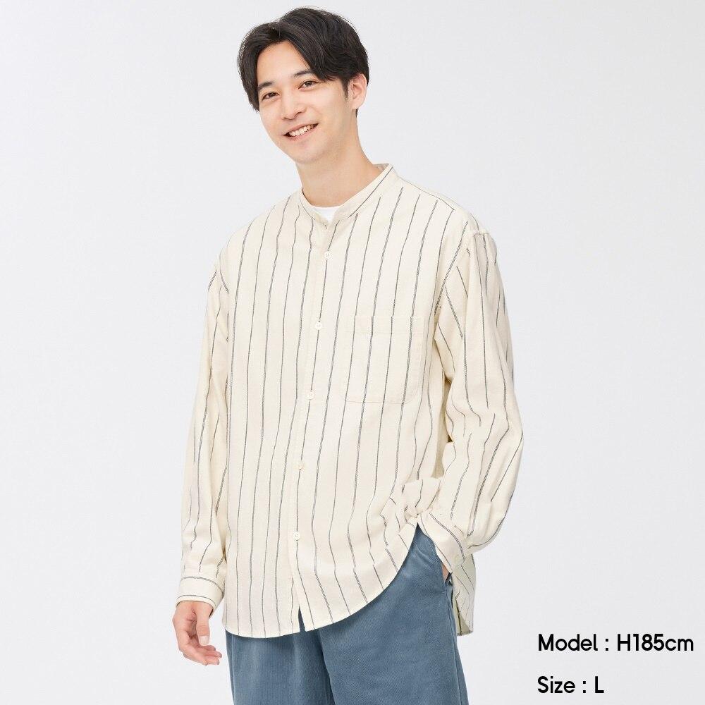 (GU)フランネルリラックスフィットバンドカラーシャツ(長袖)ストライプ