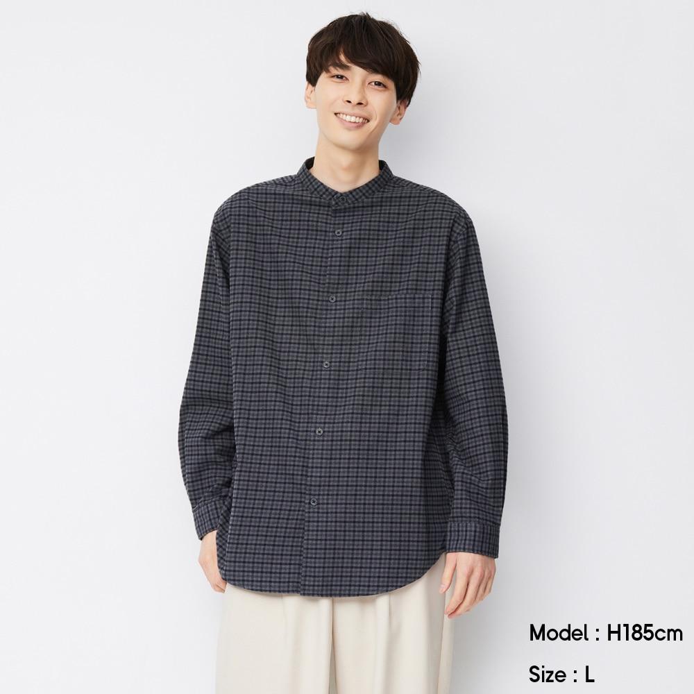 (GU)フランネルリラックスフィットバンドカラーシャツ(長袖)チェック