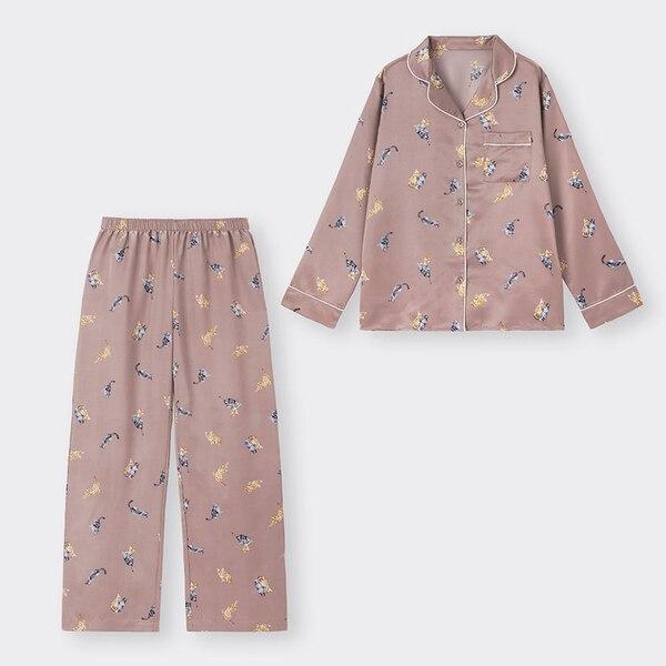 サテンパジャマ(長袖&ロングパンツ)(キャット)-BROWN