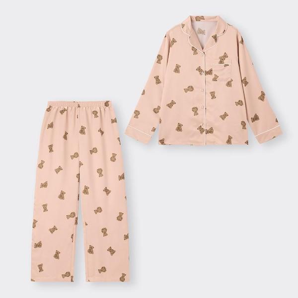 サテンパジャマ(長袖&ロングパンツ)(ベア)-PINK