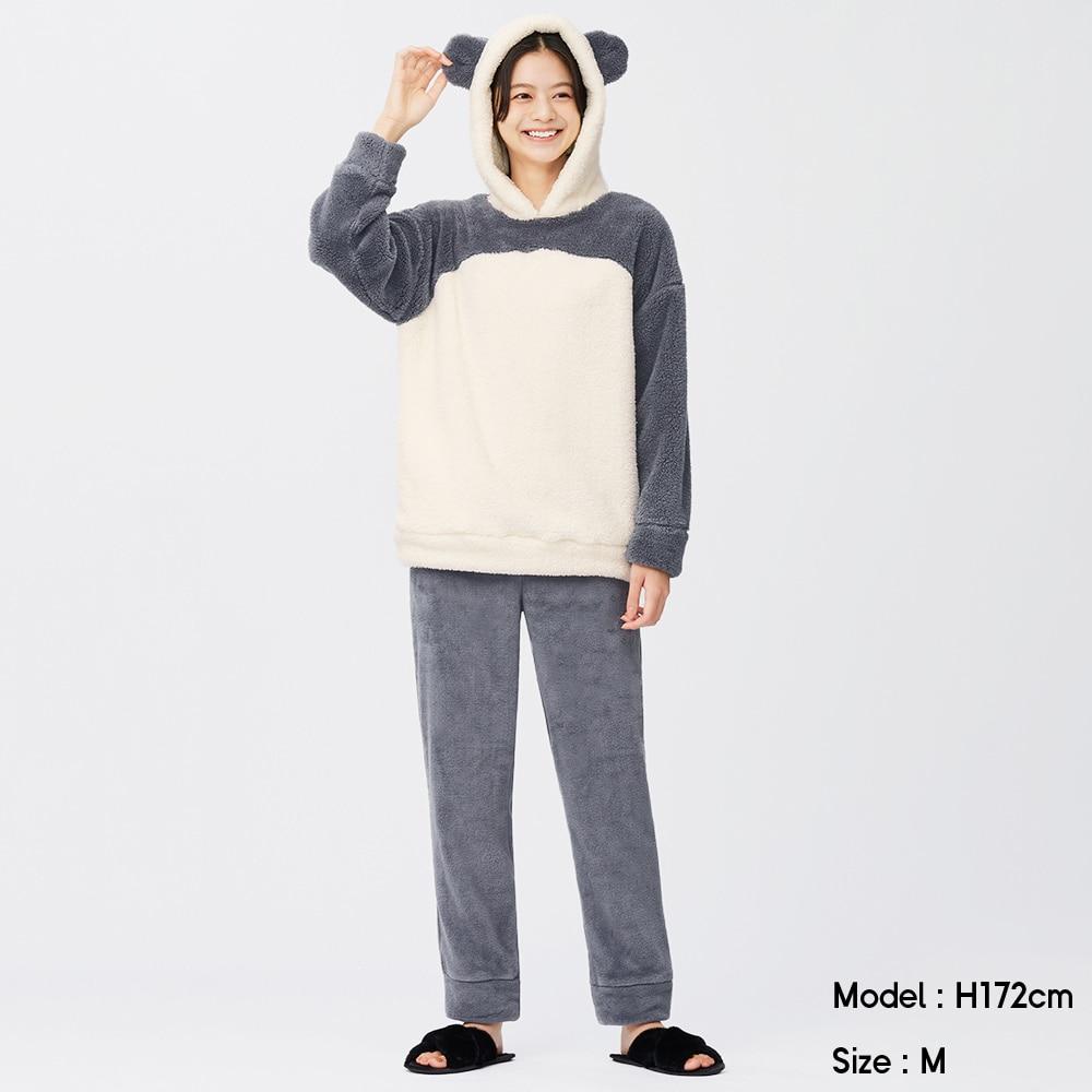 (GU)マシュマロフィールラウンジセット(長袖&ロングパンツ)(パンダ)