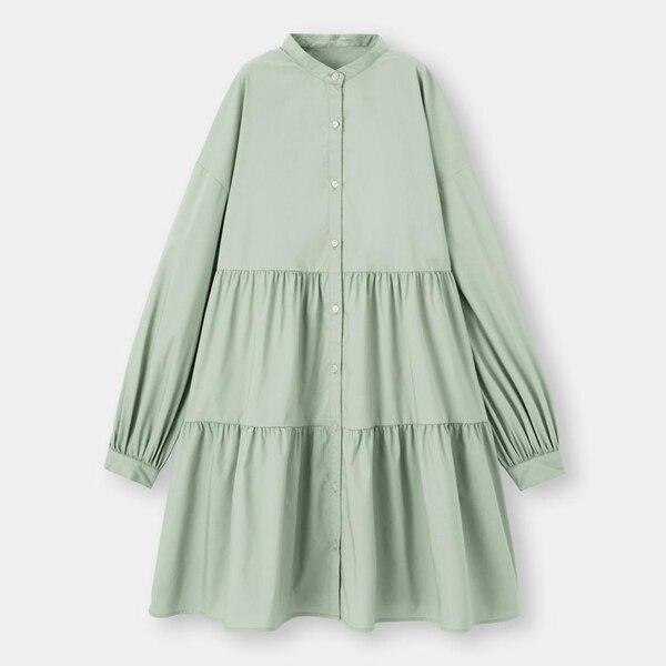 ティアードミニシャツワンピース(長袖)-GREEN