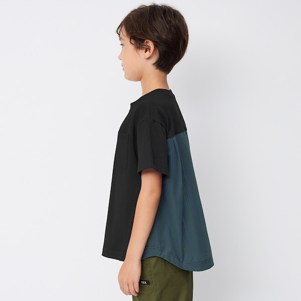 BOYSバック布帛コンビネーションT(半袖)