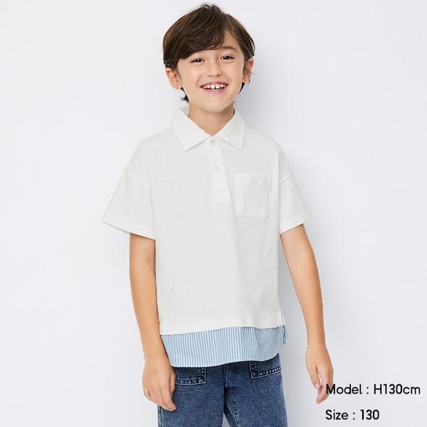 BOYSレイヤードポロT(半袖)+E-OFF WHITE