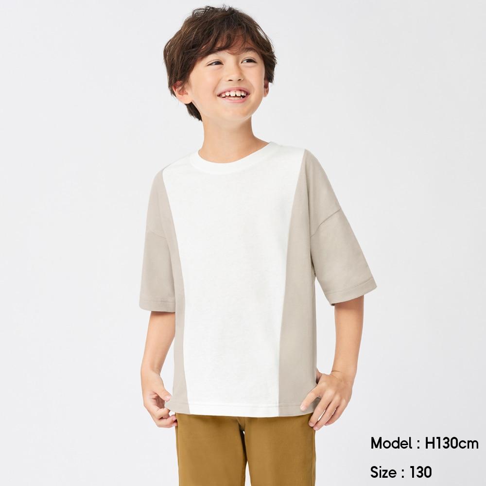 (GU)BOYSバイカラービッグT(5分袖)+E