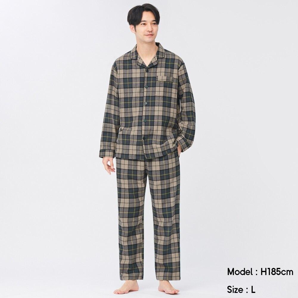 (GU)フランネルパジャマ(長袖&ロングパンツ)(チェック)+E